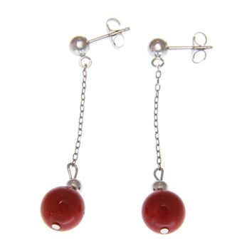 GENUINE NATURAL RED CORAL 7.4MM ROUND BALL DANGLE EARRINGS 14K WHITE GOLD