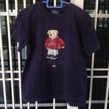 b037bf796b3b81 Vintage Polo Sports Bear Basketball Ralph Lauren t shirt youth s