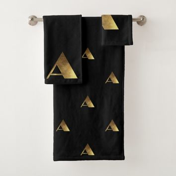 Monogram A Black and Gold Look Elegant Typography Bath Towel Set
