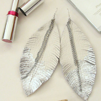 Feather Earrings - Leather Feather Jewelry, Leather Earrings, ivory leather and silver