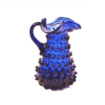 1950s Empoli Seed Pod Hobnail Glass Pitcher in Cobalt Blue