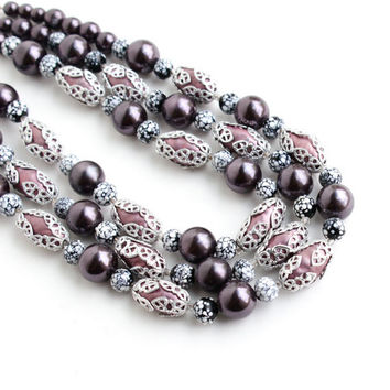 Vintage Beaded Necklace - Retro Layered Purple, & Silver Tone Costume Jewelry Beads / Triple Strand