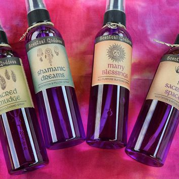 Native Spirit Sprays Set - Sacred Smudge, Shamanic Dreams, Many Blessings & Sacred Space