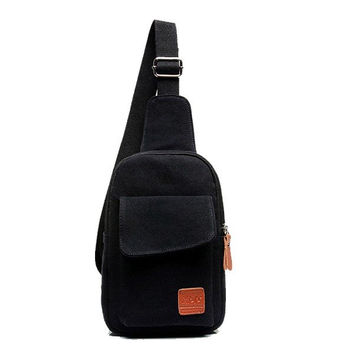 Men Canvas Vintage Style Crossbody Bag Chest Bag Shoulder Bag