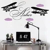 Wall Decals Vinyl Sticker Biplane Airplane Plane Clouds Sky Flight Custom Personalized Boy Name Monogram Baby Nursery Design Children's Boys Room Interior Art Murals Gift Kids Home Décor M175