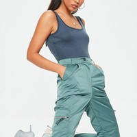 Missguided - Teal Shell Suit Cargo Pants