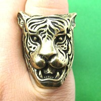 Fierce Tiger Lion Shaped Animal Ring in Brass with Animal Print Details | DOTOLY