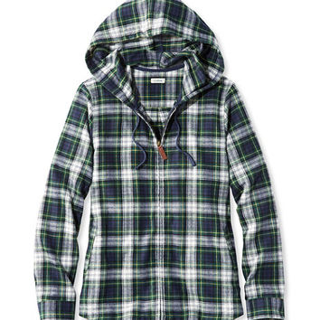Women's Scotch Plaid Shirt, Relaxed Zip Hoodie