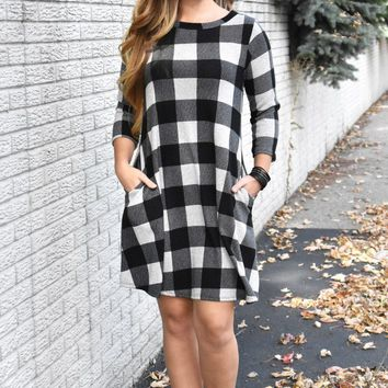 Checker Print Flare Dress with Pockets