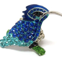 Crystal Deco Shining Blue Hummingbird Stretch Ring