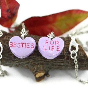 valentine candy heart necklaces heart pendant conversation heart besties for life