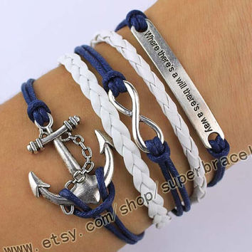 The Anchor, infinity, where there is a will there is a way bracelet, daily bracelets, navy blue leather, bridesmaid gift, graduation gift