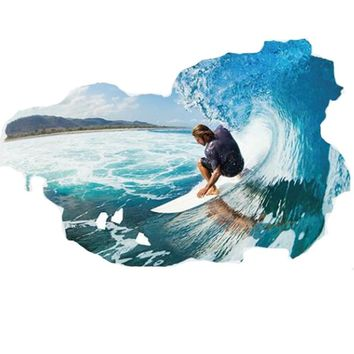 3D Large Wall Stickers Home Decor 60*90cm Surfing Sea Wave Ocean Mural Nautical Decor Adesivo De Pared Wall Decals