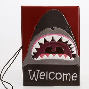 MDIGCI7 Multifunctional Package Cartoon 3D Shark Pattern Passport Covers Documents Case Passport Holder