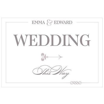 Classic Script Directional Wedding Sign (Pack of 1)