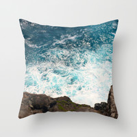 Rough Waters Throw Pillow by Shiroshi