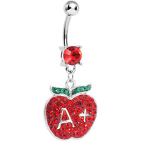 Red Gem Teacher Gets an Apple Dangle Belly Ring