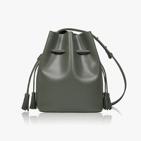 Leather Bucket Crossbody Bag