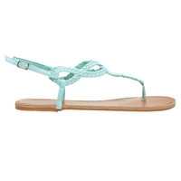 Braided Loop T-Strap Sandals | Wet Seal