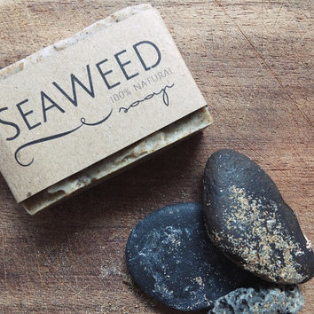 Seaweed Soap, Natural Soap, Handmade, Reviving, Revitalizing, SPA Treatment, Home SPA, Body & Face Soap, Bar 100g