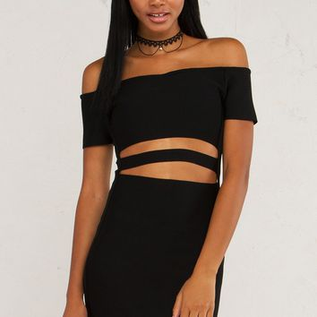 TAKE TURNS OFF SHOULDER BANDAGE DRESS