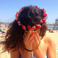 Red and Pink Roses Flower Crown