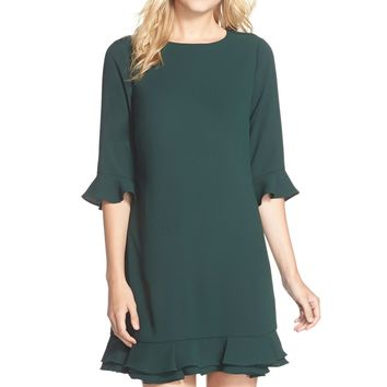 CeCe by Cynthia Steffe 'Kate' Ruffle Hem Shift Dress (Regular & Petite) | Nordstrom