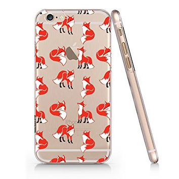 Cute Fox Pattern Clear Transparent Plastic Phone Case for iphone 6 6s_ SUPERTRAMPshop (VAS1158.6sl)