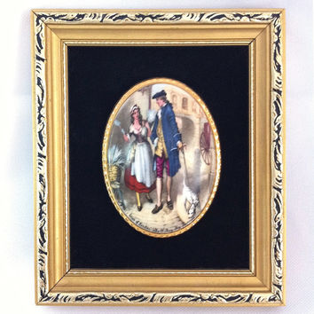 Vintage Framed Wall Art Framed Art Plaque Staffordshire Porcelain Art Cries of London Small Frame Fine Bone China Made in England Lavender