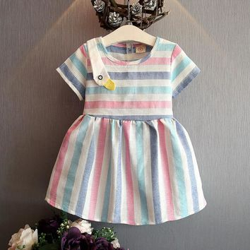 2017 Girl Dress Summer Fashion Kids Clothes Stripe Dress Baby Funny Animal Girls Costumes Swan Korean Cute Cotton Fabric Colored