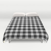 Sleepy Black and White Plaid Duvet Cover by RichCaspian