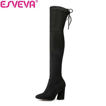 ESVEVA 2018 Women Boots Flock Over The Knee Boots Round Toe Women Boots Ladies Party Western Stretch Fabric Boots Big Size 34-43