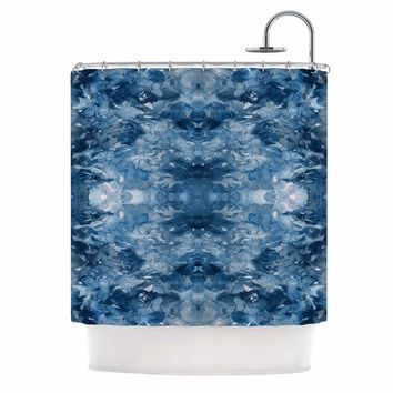 "Ebi Emporium ""Tie Dye Helix, Blue"" Blue White Shower Curtain"