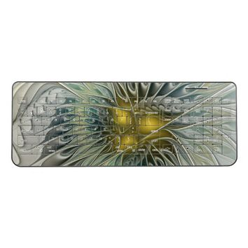 Golden Silver Flower Fantasy abstract Fractal Art Wireless Keyboard