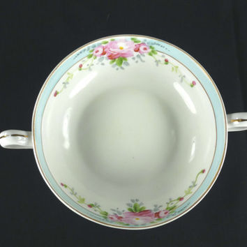 Antique Nippon Bowl with Handles Pink Roses Blue Border