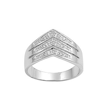 925 Sterling Silver CZ Three Rows Tiara Pointed V Ring 13MM