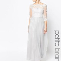 Chi Chi Petite | Chi Chi London Petite Bardot Neck Maxi Dress With Premium Lace And Tulle Skirt at ASOS