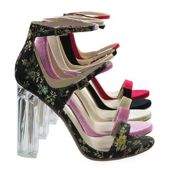 Toodee Black Sakura By Delicious, Clear Perspex Chunky Block Heel, Floral Embroidered Stitch Sandal