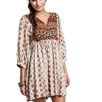 Umgee Printed Boho Babydoll Tunic Dress