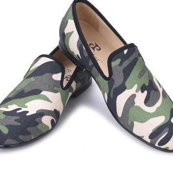 design classic-traditional loafers and military motif Camo print with leather insole men canvas casual shoes