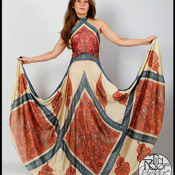 vintage 70s BOHEMIAN halter gypsy Maxi Dress M backless gypsy