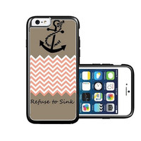 RCGrafix Brand Mocha Chevron Zig Zag Anchor iPhone 6 Case - Fits NEW Apple iPhone 6