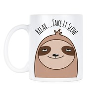 Sloth Mug Funny Sloth Coffee Mugs Relax Take It Slow Cup Gift Sloth Lover Gifts