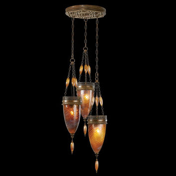 Fine Art Lamps 608640-2ST Scheherazade Three-Light Pendant in Aged Dark Bronze Finish and Hand Blown Glass in Vibrant Amber Dunes Color