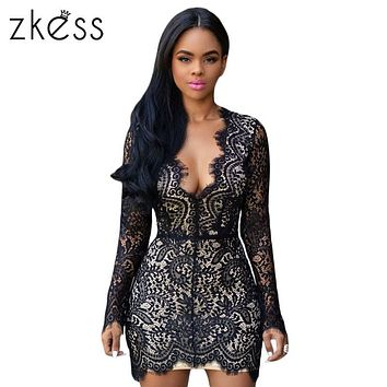 Zkess Long Sleeve Black Lace Dress Women Bodycon Sexy Slim Open Back Nude Lace Dresses V Neck Mini Elegant Party Dresses LC22535