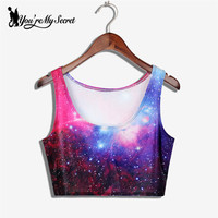 Fashion Summer Sexy Cropped Galaxy Space Digital Print Crop Top Fitness Top For Woman