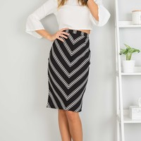 Open Your Heart skirt in black stripe Produced By SHOWPO