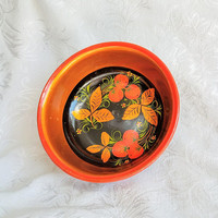 Vintage USSR Folk Art Hand painted Bowl, Russian Folk Art Orange Lacquerware Bowl, Autumn Bowl, Russian Decor,  Khokhloma Bowl Wood