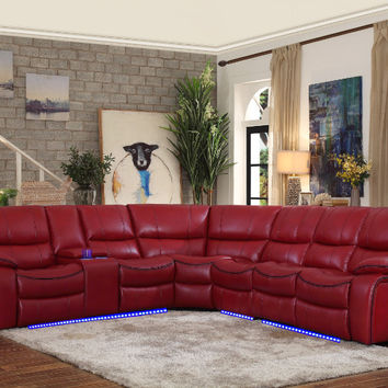 Home Elegance HE-8480RED-4SCPD 4 pc pecos red leather gel match sectional sofa power motion recliner ends