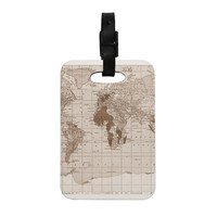 "Catherine Holcombe ""Emerald World"" Vintage Map Decorative Luggage Tag"